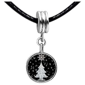 Chicforest Silver Plated christmas tree Photo Black Crystal Flower dangle Charm Beads Fits Pandora Charm Bracelet