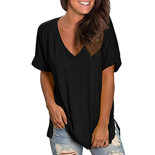 (Women's Basic V Neck Short Sve T Shirts Summer Casual Tops Looose Fitted Cute Tees Henley Blouse Black)
