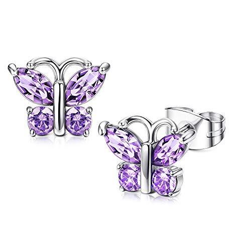 (Fiasaso 925 Sterling Silver Earrings for Women Butterfly Birthstone Stud Earrings Cubic Zirconia Jewelry Fuchsia)