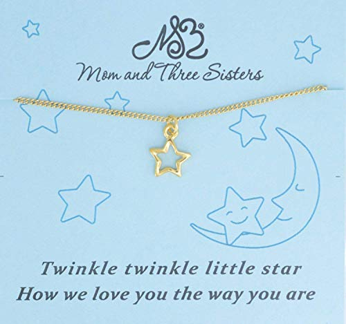 Little girls star necklace in gold plated pewter on a 14 silver stainless steel twist chain with two inch extender. Star Necklace. -
