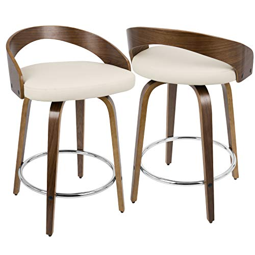 18 in. Mid-century Modern Counter Stool - Set of 2