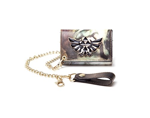 Nintendo Zelda triforce logo all over print new Official Trifold Chain Wallet