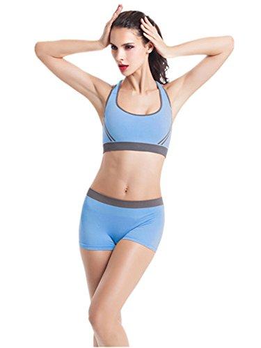 YeeHoo Donne Reggiseno senza maniche e pantaloni corti pantaloni corti di Yoga regolano l'usura sportiva di palestra Blu