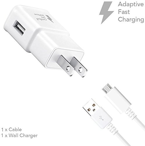 Truwire Adaptive Fast Charger Set for Samsung Galaxy S7, S7 Edge, S6, S6 Edge, Note 5, Note 4, Moto G5, Huawei Honor Lite 10, and More, Wall Charger and 4 feet Micro-USB Cable, White