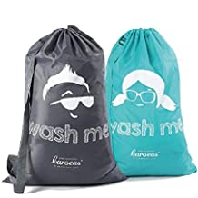 """Caroeas Laundry Bag, Cartoon Laundry Bags Pack of 2 Extra Large 40"""" Heavy Duty with Adjustable Shoulder Strap & Dustproof Drawstring Closure-Extra Large College Laundry Bag(Grey & Blue)"""