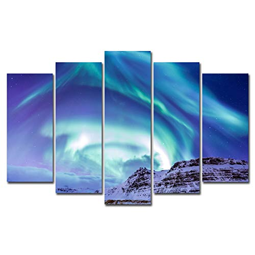 5 Panels Canvas Painting Wall Art Northern Light Aurora Borealis Kirkjufell Iceland Picture Prints on Canvas Modern Landscape Unframed Artwork for Living Room Bedroom Home Decor (No Frame)