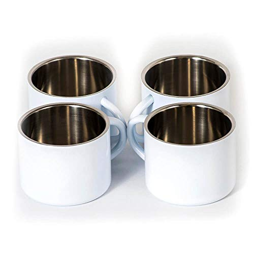 - Stainless Steel Double Wall Espresso Cups, Set of 4, Small (White)