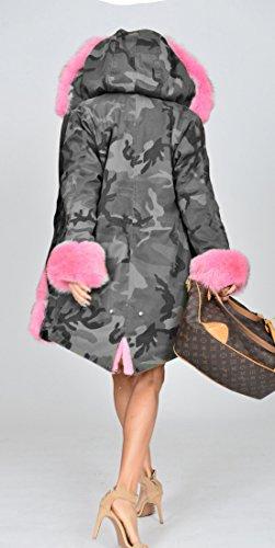 Con Taglia Pink Grey 36 Roiii Donna Parka Da 48 Cappotto Cappuccio Invernale WnRq6vI