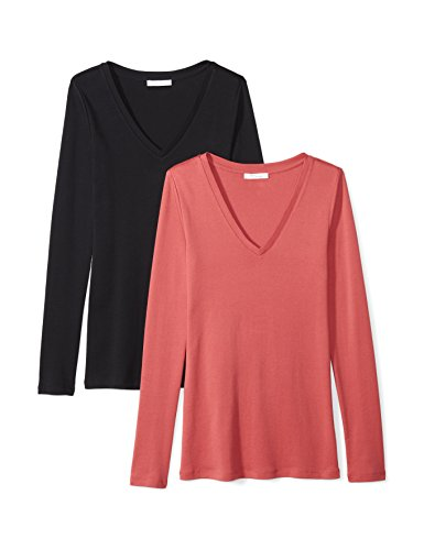 Daily Ritual Women's Midweight 100% Supima Cotton Rib Knit Long-Sleeve V-Neck T-Shirt, 2-Pack