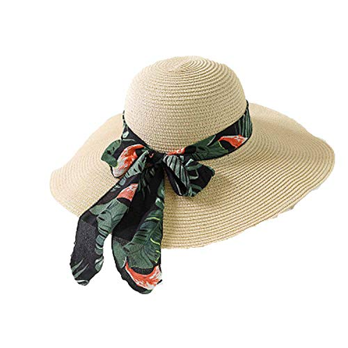 New Summer Female Sun Hat Bow Ribbon Beach Hats for Women Sombrero Floppy Straw Hat,Beige Green Ribbon -