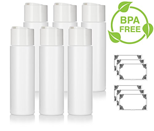 (8 oz/250 ml Professional White Refillable Plastic Squeeze (BPA Free) Bottle with Wide White Disc Cap Lid (6 Pack) + Labels for Shampoo, Conditioner, Body Wash, Lotion, and More)