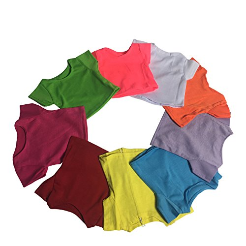 short-sleeve-t-shirt-solid-colors-set-of-9-hot-pink-white-yellow-light-green-turquoise-red-orange-la