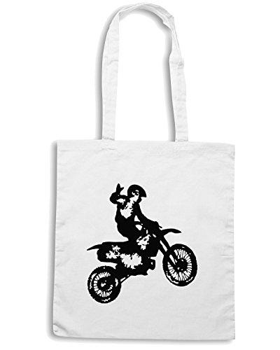 T-Shirtshock - Bolsa para la compra OLDENG00046 dirt bike Blanco