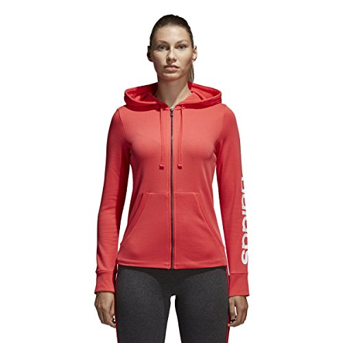 adidas Women's Essentials Linear Full Zip Fleece Hoodie, Real Coral/White, X-Small by adidas (Image #2)