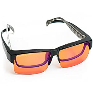 Fitover Anti-Blue Blocking Computer Glasses | Fits Over Prescription Eyeglasses | Extra Amber for Better Blue Light Reduction | Enhance Sleep Cycle | Reduce Eyestrain Migraine Headaches Insomnia