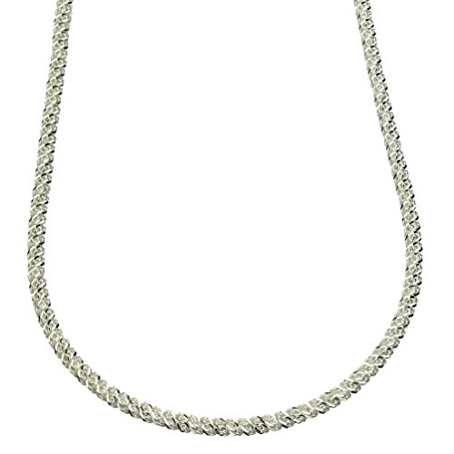 Sterling Silver Diamond Cut Rope Mesh Nickel Free Chain Necklace Italy Adjustable 16 - 18 (Diamond Mesh Necklace)