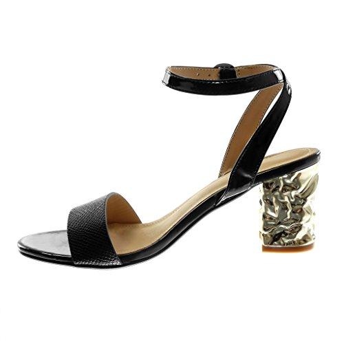 Tobillo Tanga Cm 7 Negro Serpiente Piel Moda Brillantes Zapatillas Abierto Sandalias Tacón Angkorly Mujer Correa Escarpín Alto De Ancho 5 8AfBwfxqO