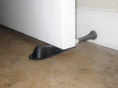 Door Stop Set, 4 PACK, 4.50 Inch Rubber Door Stoppers, Black, Non-Slip Grip Cups (3/4 inch Clearance)