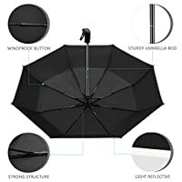 UROPHYLLA Umbrella, Windproof Umbrella Travel Umbrella Compact Automatic Open and Close Umbrella Lightweight 8 Ribs Golf Umbrellas One Handed Operation with Light Reflective-Black