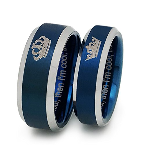 King and Queen Rings, Personalized Couples Ring Set, His and Hers Tungsten Ring, Anniversary Rings (With Inside Engraving)TCR383 by Kriskate & Co.