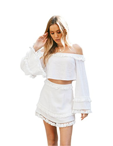 Heheja Mujer Sin Tirantes Tops T-shirts Color Sólido Borla Falda Blanc