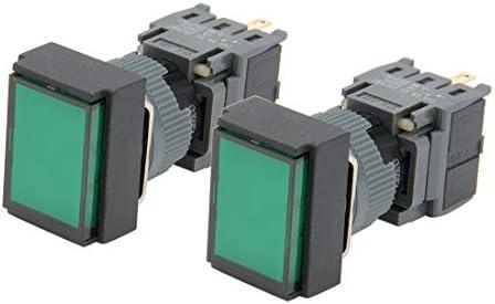 uxcell AC110-220Vグリーンライト SPDT瞬間押しボタンスイッチ 長方形のボタンスイッチ 2個入り