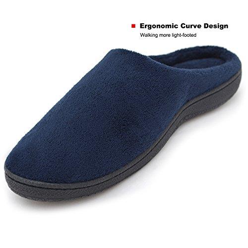Pantofole Morbide Morbide In Pile Memory Foam Fodera Slip-on Scarpe Da Casa Con Suola Antiscivolo, Interno / Esterno Blu Navy