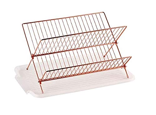 Copper O Deluxe Chrome-plated Steel Foldable X Shape 2-tier Shelf Small Dish Drainers with Drainboard Neat-O KC-DD-004-3