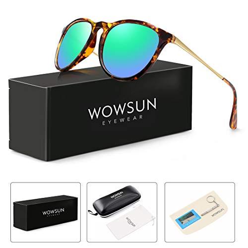 WOWSUN Polarized Sunglasses for Women Vintage Retro Round Mirrored Lens (Amber(tortoise) Frame + Green Mirrored Lens, 55)