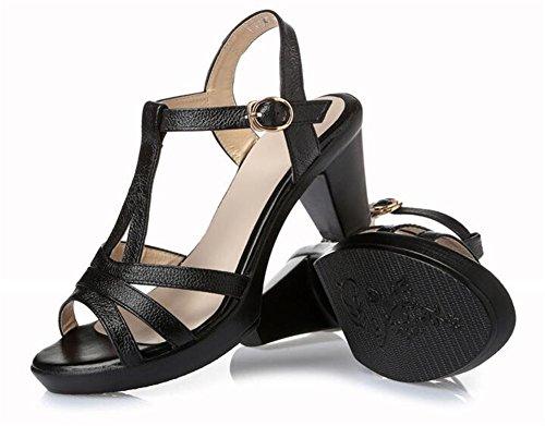 MSFS Femmes Des sandales Cuir Travail Bureau Personnes âgées Antidérapant Semelles souples Taille 35 à 39 Noir oDtJh3
