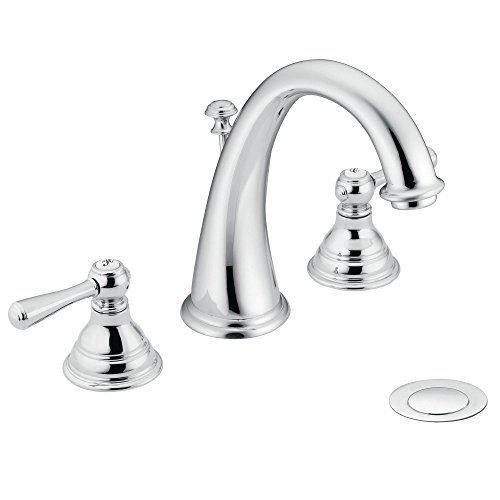 Moen T6125 Kingsley Two-Handle High-Arc Widespread Bathroom Faucet without Valve, (Moen Kingsley Widespread Faucet)