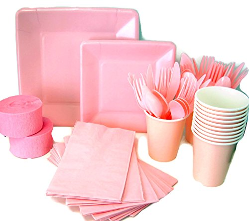 Pink-Party-Supplies-Bundle-16-Paper-Plates-18-Dessert-Plates-18-Napkins-16-Cups-48-Piece-Assorted-Plastic-Cutlery-Set-and-Two-Rolls-of-Crepe-Paper-Streamer-Decoration