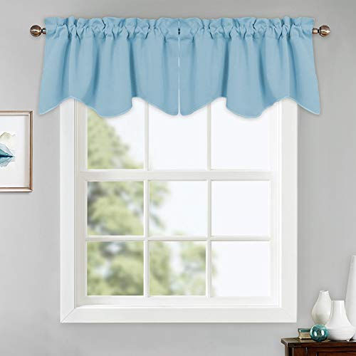 PONY DANCE Window Curtain Tiers - Kitchen Valances Soft Rod Pocket Natural Scalloped Half Small Curtains Home Decor for Match with Drapes, 42 x 18 inches, Light Blue, Set of 2 (Baby Blue Kitchen Curtains)