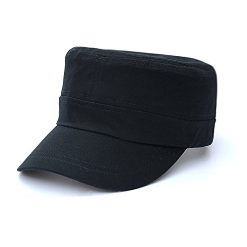 Unisex Military Cap (RICHTOER Fashionable Unisex Flat Cap Top Peaked Baseball Twill Army Millitary Corps Hat Visor (Black))