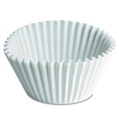 Hoffmaster 610070 2-1/4 Inch Bottom Width by 1-7/8 Inch Wall Height 6 Inch White Fluted Paper Bake Cup 500-Pack (Case of 20) by Hoffmaster