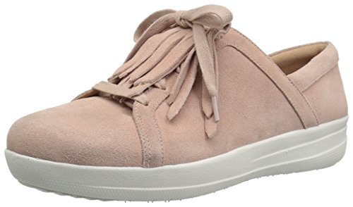 FitFlop Women's F-Sporty II LACE UP Fringe Sneakers, Dusky Pink, 7 M US