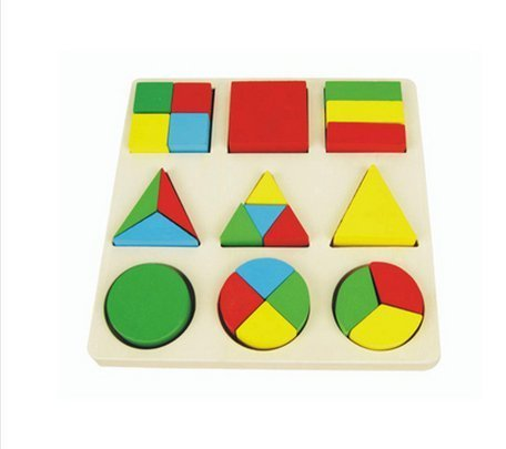 HSE Early Childhood Cognitive Geometric Shape Classification Board Panels Clutch Plate Wooden Puzzles Three-Dimensional Jigsaw Puzzle Enlightenment Over 3 Years Old Baby Preschool Educational Toy Building Blocks With Wooden Underlay with a Set of 9 Pieces As a Christmas and Birthday Gift- Score disk
