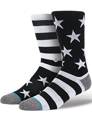 Stance Men's Bunker Crew Sock, Black, Large/X-Large