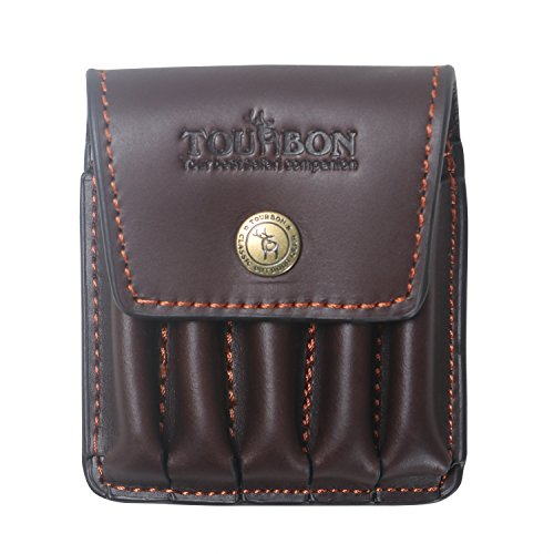 Tourbon Hunting Genuine Leather Rifle Cartridge Holder 5 Round Ammo Wallet Pouch