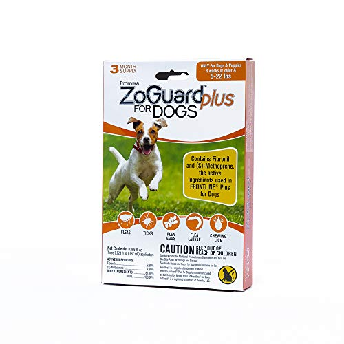 ZoGuard Plus Flea and Tick Prevention for Dogs, Small 5-22 lbs, 3 Months, 3 Doses (Frontline Plus For Small Dogs Best Price)