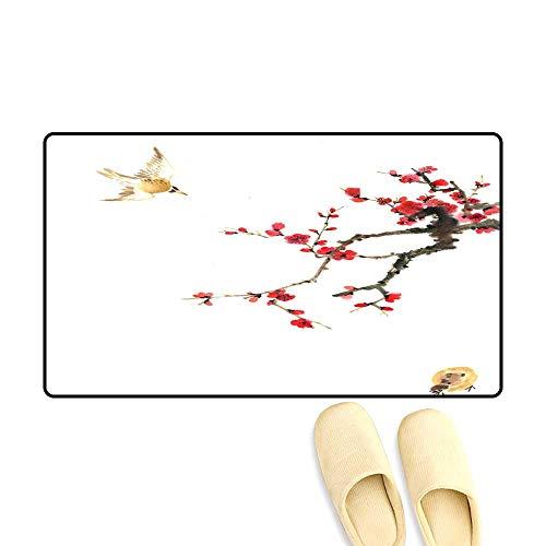 High Water Absorption Door mat Plum Bloom an Animal