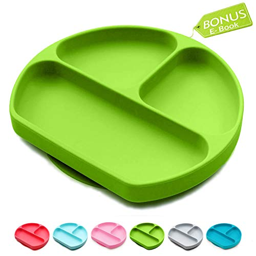 Toddler Suction Plate And Bowl That Stick To highChair, Non Slip Silicone Feeding Placemat For Babies, Infant, Divided Baby Dishes, Perfect Kids Plates, Dishwasher, Microwave Safe ()
