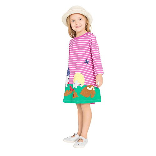 Girls Cotton LongSleeve Casual Stripe Dress (Hedgehog,Rose,2-3Years) -