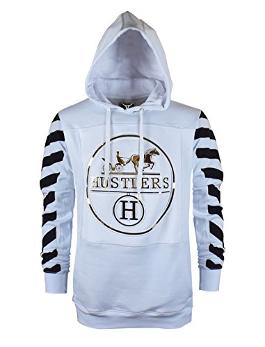 SCREENSHOT SCREENSHOTBRAND-S51732 Mens Hip Hop Premium Fleece Hoodie - Pullover Long Sleeves Fashion Hoody Embossed Hustler Print - White - - Sweatshirt Hustler