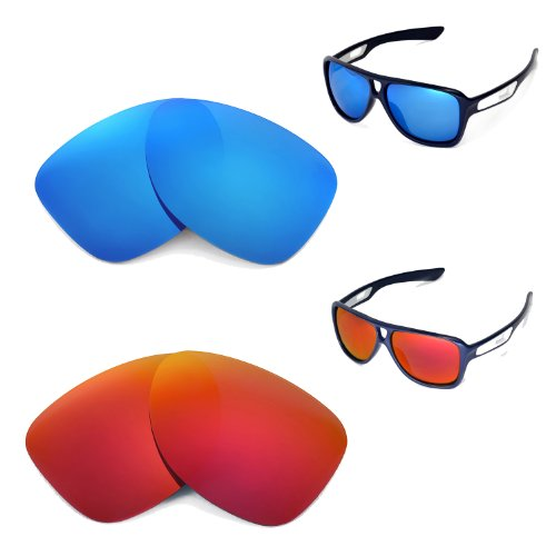 New Polarized Fire Red+Ice Blue Replacement Lenses for Oakley Dispatch II Sunglasses