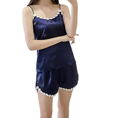 Pajamas Sets,RedBrowm Hot Sale! Women Fashion Satin Nightwear Sexy Lingerie smooth Pajamas Homewear 2Pcs (XXXL, Blue)