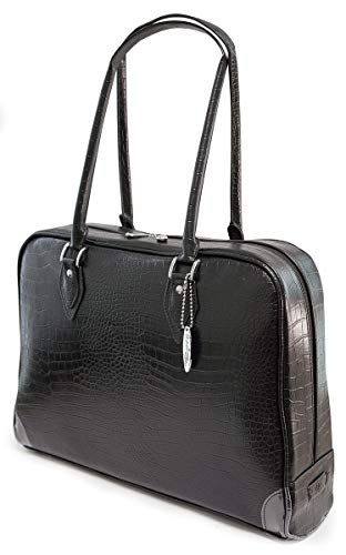 Mobile Edge Large Women's Milano Faux Croc Laptop Handbag, Tote Bag in Black