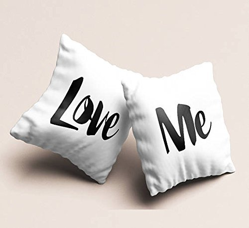 Set of 2 Love me couples white pillowcases, Throw pillow cozy bedroom decor engagement present cute accent pillow case gift for newly weds Wedding gift (National Lampoons Christmas Script Vacation)