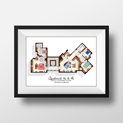 Big Bang Theory Art Print - Apartment Floor Plan - TV Memorabilia - TV Floor Plan - Print for Home of Sheldon, Leonard and Penny - TV Show Poster (Big Bang Theory Wall Art)