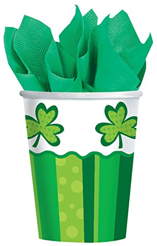 Amscam St Patrick's Day Cheer Cups, 50 Per Package, 9 oz, Green/White